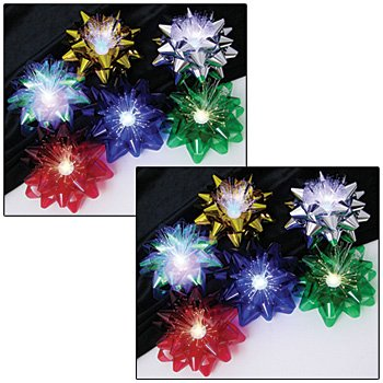LED Fiber Optic Lighted Reusable Holiday Cellophane Gift Bows (Set of 12)
