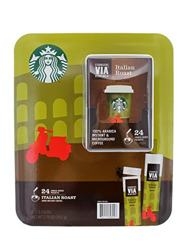 Starbucks Via Ready Brew, Italian Roast Extra Bold Instant Coffee, 100% Arabica Instant And Microground Coffee, 24 Single Serve Packets.