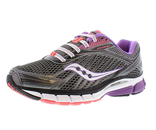 Saucony Women'S Ride 6 Running Shoe,Grey/Purple/Vizipro Coral,12 M Us