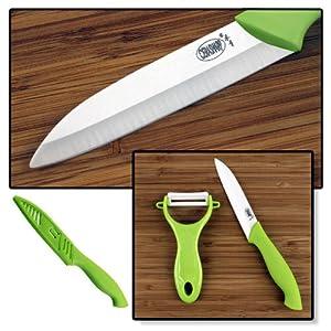 CERASHARP 4 Ceramic Paring Knife & Peeler Set - Superior Blade Strength & Cutting... by CERASHARP