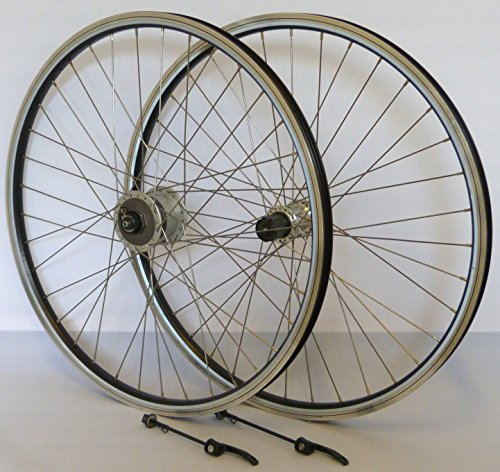 28 Zoll Fahrrad Laufradsatz REFLEX Hohlkammerfelge schwarz Shimano Dynamo DH3N30/THX800 silber Niro silber