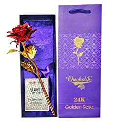 Chocholik 24K Red Golden Rose 10 INCHES With Gift Box