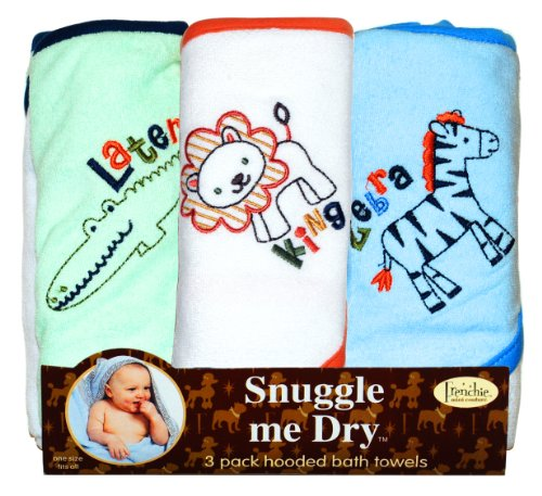 Wild Animal Hooded Bath Towel Set, 3 Pack, Boy, Frenchie Mini Couture