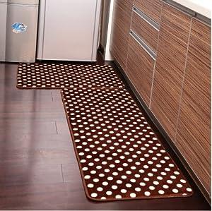 Amazon Ustide 2 Piece Brown Polka Dot Kitchen Rug