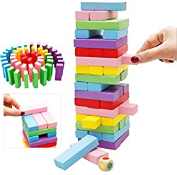 PIGLOO 48Pcs Color Wooden Blocks Tumbling Stacking Jenga Building Tower Game