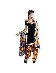 Black Beautiful Cotton Patiala Unstitched Suit