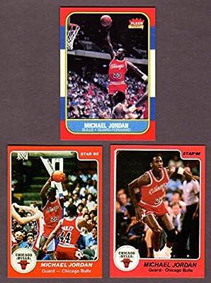Michael Jordan (3) Card Lot (1985, 1986 Star and 1986 Fleer Basketball Rookie Reprint Cards (Chicago)