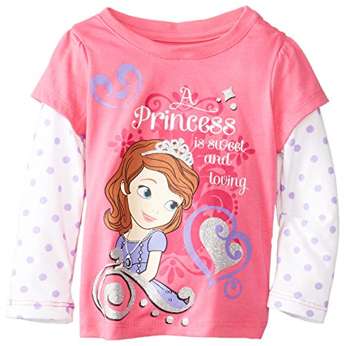 Disney Little Girls' Sofia Loving Long Sleeve Tee, Pink, 3T front-90123