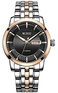 BUREI® Luminous Day and Date Automatic Watch with Two Tone Link Bracelet,Rose Gold Bezel Black Dial