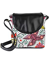 Snoogg Seamless Pattern With Butterflies And Flowers Womens Sling Bag Small Size Tote Bag