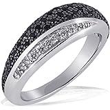 Goldmaid - Pa R4173S60 - Black & White - Bague Femme - Argent 925/1000 5.0 gr - Oxyde de Zirconium - 42 noirs et 8 blancs - T 60