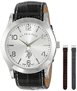 U.S. Polo Assn. Classic Mens USC20118 Silver-Tone Watch Set with Three Interchangeable Slide-Through Straps