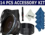 Essential Kit for NIKON (D40, D50, D60, D80, D90, D300S, D3000, D3100, D5000, D5100, D7000), Includes: 0.43x Wide Angle Fisheye High Definition Lens + Adapter Ring Kit + Lens Cleaning Pen + 4 Microfiber Cleaning Cloths(Blue)+ 1 Ultra Fine GOJA Microfiber
