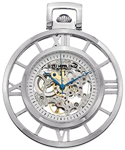 Stuhrling Original 713.01 Montres de Poche Ancestor Mechanical Skeleton Stainless Steel Pocket Watch
