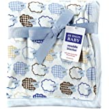 Hudson Baby Sheep Printed Blanket with Plush Backing, Blue (Discontinued by Manufacturer)