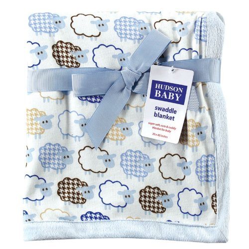 Hudson Baby Sheep Printed Blanket with Plush Backing, Blue (Discontinued by Manufacturer) - 1