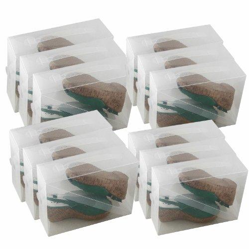 3 x scatole trasparenti pieghevoli in plastica per - Scatole porta scarpe ...