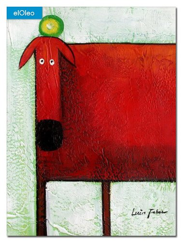 elOleo Pop Art – Der lustige rote Hund 40×30 Gemälde auf Leinwand handgemalt 83070A günstig online kaufen