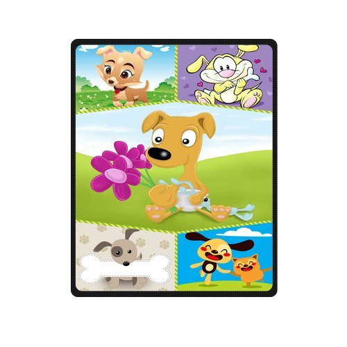 "Personalized Cute Dogs Jigsaw Blanket 40""X 50""(Small) front-860379"