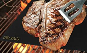 BBQ Mat - Set of 2 BBQ Grill Mats - Baking Mat - BBQ Mats - Barbecue Mat - BBQ Mat Grill King - 2 Year Warranty - Best Barbecue Tools on the Market - #1 in BBQ Accessories - First in BBQ Tools - Barbecue - Make Grilling Easier - Grill without a Spill - Non Stick - Easy to Wash - Lasts for Years - Extremely Durable - Made of PTFE (PFOA free) 100% Non-stick and Reusable - Best Barbecue Gift - Mats Work Great with Grill Kings Barbecue Gloves - Money Back Guarantee!