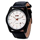 Mens Unique Casual Dress Quartz Analog Waterproof Business Leather Band Wrist Watch, With Black Strap, White Dial