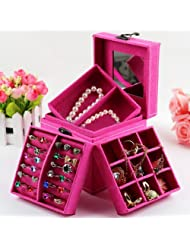 KLOUD Hot Pink three-layer lint jewelry box / organizer / display storage case with mirror plus KLOUD cleaning