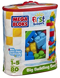 Mega Bloks First Builders Big Building Bag, 80-Piece (Classic) by Mega Bloks