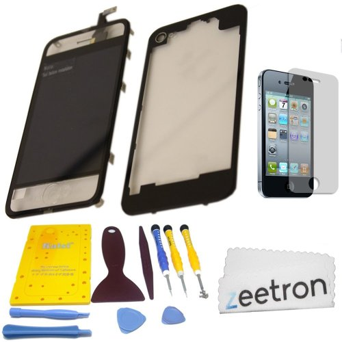 Zeetron© Clear Iphone 4 Colorswap Color Conversion Diy Kit (Includes A Glass Screen Lcd Aseembly + Home Button + Back Door Assembly + Full Tool Kit & Screw Mat + Screen Protector + Zeetron Microfiber Cloth) At&T Only (Do It Yourself Kit)