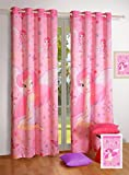 "Swayam Curtain Concept Digitally Printed Faux Silk Door Curtain - 48""x90"", Multicolor (KCURD-116 FAIRY )"