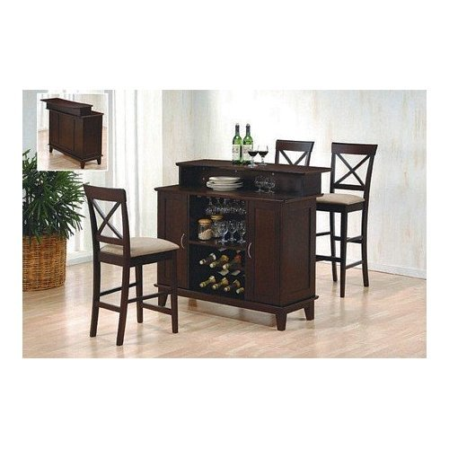 Compare contemporary style deep cappuccino finish solid for Wooden bar unit