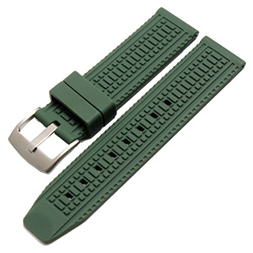 new-mens-green-silicone-rubber-watch-straps-bands-waterproof-24mm-ss-buckle