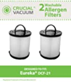 2 Eureka DCF-21 Filters, Long-Life WASHABLE, REUSABLE and Allergen Filtration, Compare With Eureka DCF21 Part # 67821, 68931, 68931A, EF91, EF-91, EF-91B, Designed & Engineered By Crucial Vacuum