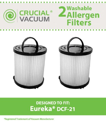 Eureka Vacuum Filter - 2 Eureka DCF-21 Filters, Long-Life WASHABLE, REUSABLE and Allergen Filtration, Compare With Eureka DCF21 Part # 67821, 68931, 68931A, EF91, EF-91, EF-91B, Designed & Engineered By Crucial Vacuum