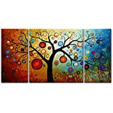 Santin Art-3 Piece Canvas Art Modern Art 100% Hand Painted Oil Painting on Canvas Wall Art Deco Home Decoration (Stretched and framed) Ready to Hang JPC196