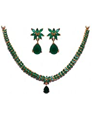 Beautiful Handcrafted Emerald Color Stone Studded Necklace & Earrings Set
