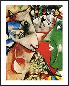 Marc Chagall Poster Art Print and Frame (Plastic) - I And The Village (20 x 16 inches)