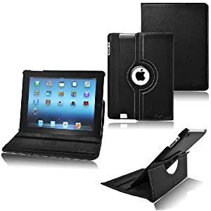 CrazyOnDigital Rotating Stand Leather Case  for the New iPad 3 - Side