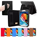 Snugg Galaxy Tab 3 8.0 Leather Case in Black - Flip Stand Cover with Elastic Hand Strap and Premium Nubuck Fibre... by Snugg