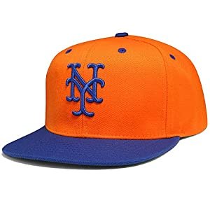 New York Mets MLB American Needle Back 2 Front Fusion Snapback Hat (Orange Blue) by American Needle