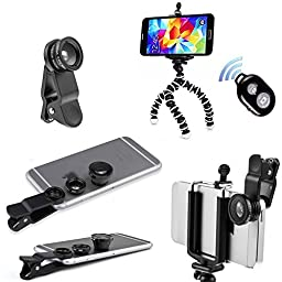 Peyou® iPhone Camera Lens Kit (Extra Clip, Fish eye, Wide Angle and Macro combo) - BONUS Octopus Tripod, Phone Holder and Bluetooth Remote Shutter Works with iPhone, Samsung Phone etc