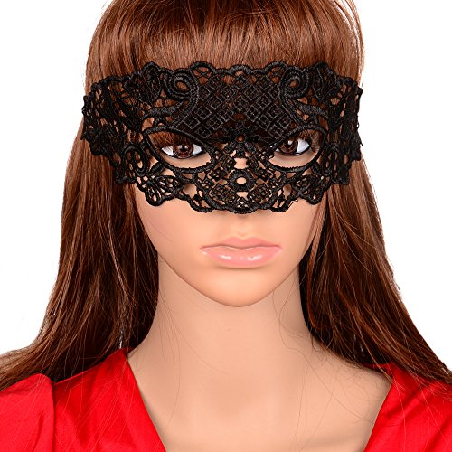 Yazilind Lolita Gothic Black Lace Half Mask for Fancy Masquerade Ball Women