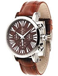 Gio Monaco Men's 124-A oneOone Automatic Brown Alligator Leather Chronograph Watch