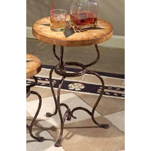 Metalworks Large Scatter Accent Table with Fossil Stone Top (Butler)