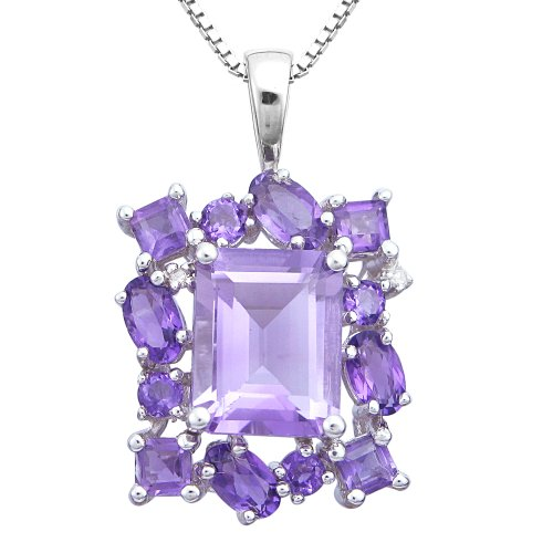 Sterling Silver Amethyst and Diamond Accent Framed Emerald Cut Pendant Necklace, 18