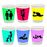 Giftsmate Naughty Positions Shot Glasses - Set Of 6, Wedding Gifts, Anniversary Gifts