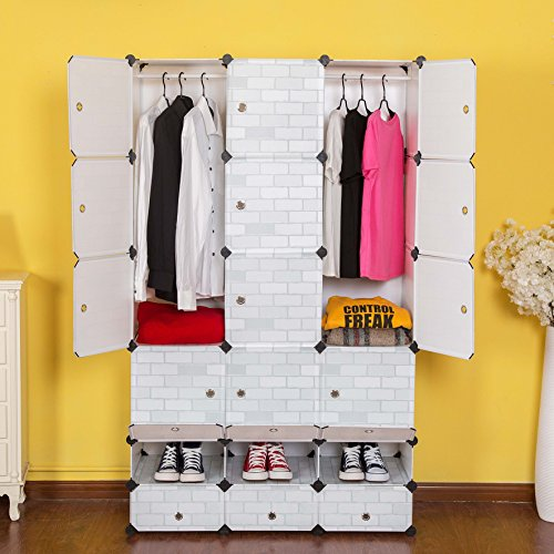 c ahome 12 cubes clothes closet wardrobe armoire storage cube with doors white tile 35x45. Black Bedroom Furniture Sets. Home Design Ideas