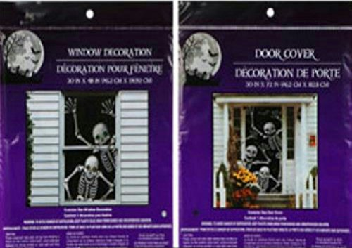 Bundle: 1 Happy Waving Skeleton Door Cover and 1 Smiling Skeleton Window Cover Scary Haunted House Set of Halloween Decorations