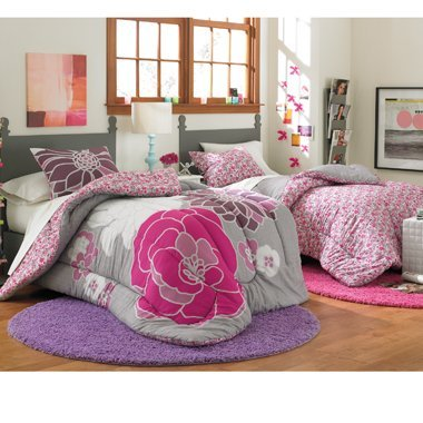 5pc Gray White Pink Reversible Flower Floral Twin Comforter Set (5pc Bed in a Bag)