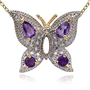 18k Yellow Gold Plated Sterling Silver Genuine Amethyst and Diamond Accent Butterfly Pendant, 18""