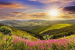 Startonight Wall Art Canvas Daydream Sun, Rainbow and Beautiful Nature, Nature USA Design for Home Decor, Dual View Surprise Wall Art 23.62 X 35.43 Inch Original Art Painting!